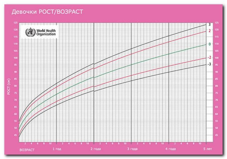 Девочки диаграмма рост-возраст